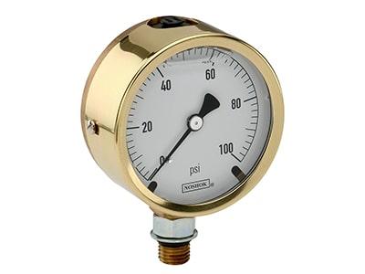 Noshok 300 Series Brass Case Liquid Filled Pressure Gauges Pressure Gauge